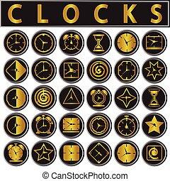 clocks, ensemble, icônes