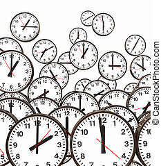 Clocks Floating - Lots of black and white clocks floating in...