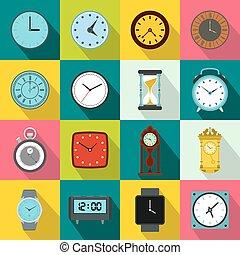 Clocks icons set, flat style