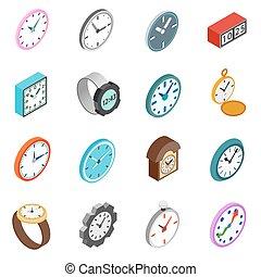 Clocks icons set, isometric 3d style