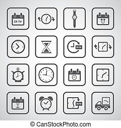 clocks icons set