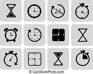 Clocks icons set on grey Time, chronometer. Vector...