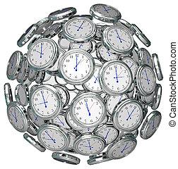 clocks, in, sfera, mantenere tempo, passato, presente,...