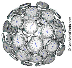 Clocks in Sphere Time Keeping Past Present Future - Many...