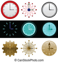 Clocks - Nine simple clock faces with space for numbers if...