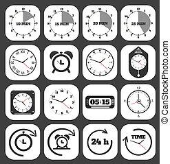 clocks, noir, icône
