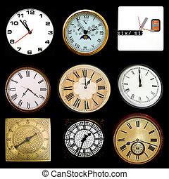 Clocks on black
