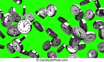 Clocks on green chroma key. Loop able 3DCG render animation....