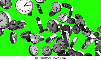 Clocks on green chroma key. Loop able 3DCG render animation....