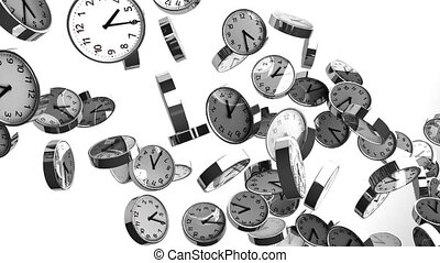 Clocks on white background. Loop able 3DCG render animation....