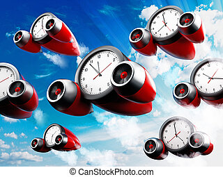 Clocks pointing different times with jet engines. 3D illustration