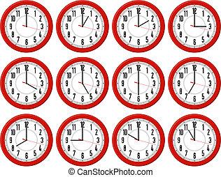 clocks, rojo, épocas