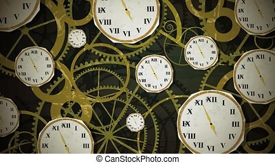 clocks, rouage horloge, hd, boucle