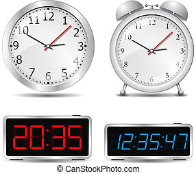 Clocks - Set of different clocks, vector eps10 illustration