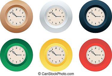 Clocks - Shiny colorful clocks vector set
