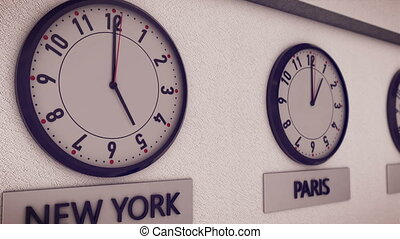 """Clocks show time in different cities on white wall(New York, Paris, Tokio, Moscow, Sydney). Symbol for Greenwich Mean Time"""