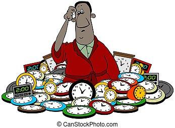 clocks, sien, taille, homme, haut