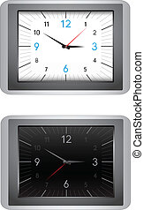 Clocks - The modern office clocks, black and white dial,...