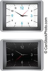 Clocks - The modern office clocks, black and white dial,...