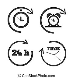 Clocks, time icons set