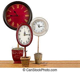 clocks, topiary
