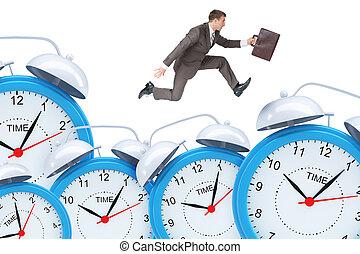 clocks, uomo affari, allarme, set, correndo