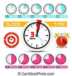 Clocks. Vector Time Icons. Five to Fifty Minutes Clock Faces Set.