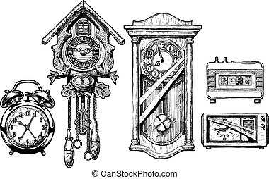 clocks, vieux, illustration