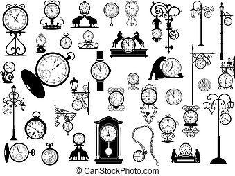 clocks, y, relojes
