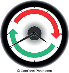 Clockwise - Clock with red and green circle arrows