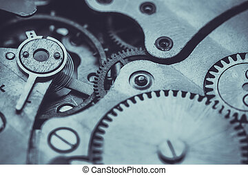 Clockwork . Close-up Of Old Clock Watch Mechanism -...