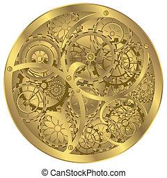 Clockwork - Difficult clockwork of gold colour on white...