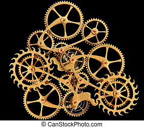 Clockwork - Illustration of precision engineered cogs and...