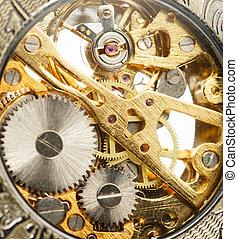 Clockwork inside mechanism in closeup