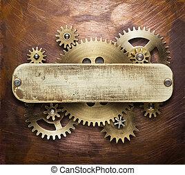 Clockwork mechanism collage on copper background made of...