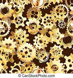 Clockwork mechanism seamless pattern with golden steampunk cogwheels