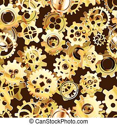 Clockwork mechanism seamless pattern with golden steampunk...
