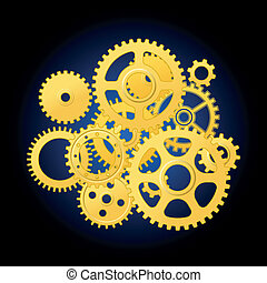 Clockwork mechanism with gears for technology or time...