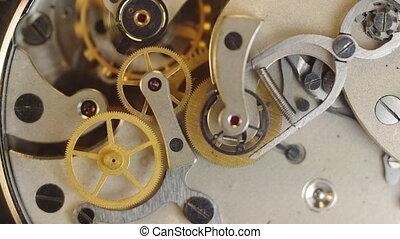 clockwork, metaal, binnen, tandwielen