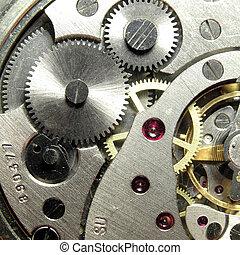 clockwork of the metallic mechanical watch close-up