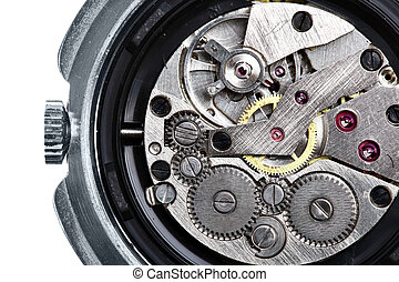 Clockwork of wristwatch isolated over white background