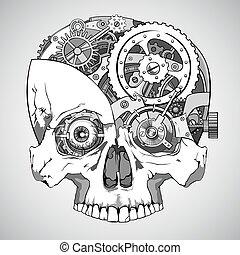 clockwork skull - human skull with clockwork mechanism...