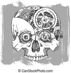 clockwork skull illustration