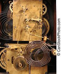 Internal working of an antique clock