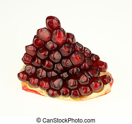 Cloese-up of slice of pomegranate with seeds
