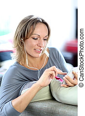Cloeup of woman using smartphone