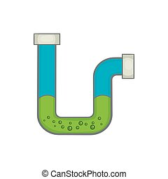 Clog in the pipe icon, cartoon style