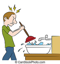 Clogged Sink - An image of a man using a plunger on clogged...
