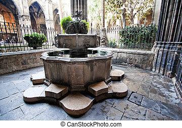Cloister, La Catedral, Barcelona, Catalonia, Spain, Europe...