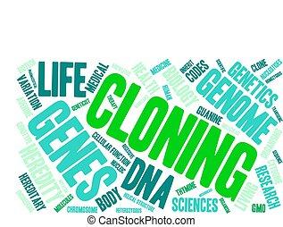 clonage, mot, nuage